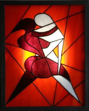 """Tableau lumineux, pour faire de la lumière un élément esthétique autant qu'un mode d'éclairage, appelé """"Les Nus"""" constitué de verres opalescents montés en vitrail Tiffany de couleur blanche, orange et violet foncé. Rétro-éclairage tubes fluo"""