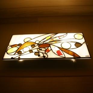 Applique de salle de bain vitrail Tiffany 60*30. Verres blanc, translucides structurés de gouttes et cabochons de miroirs