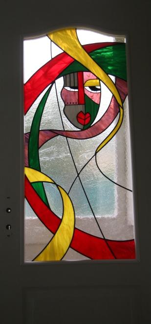 Vitrail au plomb type ethnique Dimensions 110*50 cm à l'intérieur d'une porte intérieure