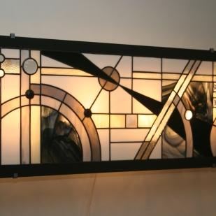 Très Grande (96*35 cm) Applique murale/Tableau lumineux Vitrail Tiffany Art Déco Edora